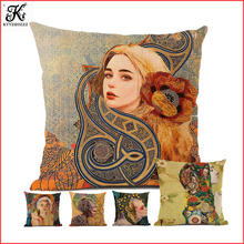 Person Cushion cover 45x45cm flax fashion sofa household decoration pillowcase women pattern series creative abstract person portrayal pattern square shape flax pillowcase without pillow inner