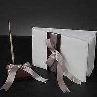 Free shipping Shimmering Gold Wedding Guest Book And Pen Set with bow QMC1058