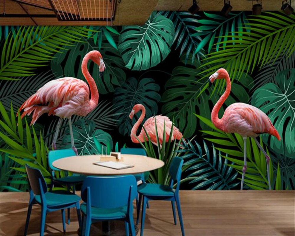 beibehang papel de parede Custom Wallpaper Wall Stickers Hand green drawn tropical rain forest flamingo Mural 3d wallpaper beibehang custom wallpaper giant mural painting super aesthetical dream forest moonlight whole house wall murals papel de parede