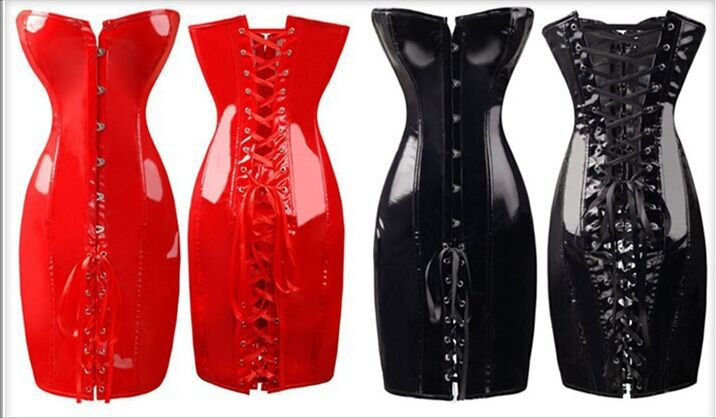 hot selling body slim pvc corset fashion sexy club dress plus size s m l xl xxl hot red  black-in Bustiers & Corsets from Underwear & Sleepwears