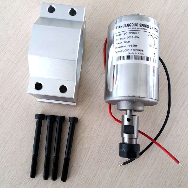 Engraving Machine DC Spindle motor ER11 3.17mm 200W High Speed Spindle Brush Air Cooled PCB Spindle Motor and Bracket 1set