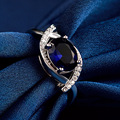 LIAMTING Classic Dark Blue 925 Sterling Silver Ring With Dark Blue Stone Party Accessories Cubic Zirconia Rings For Women VB079