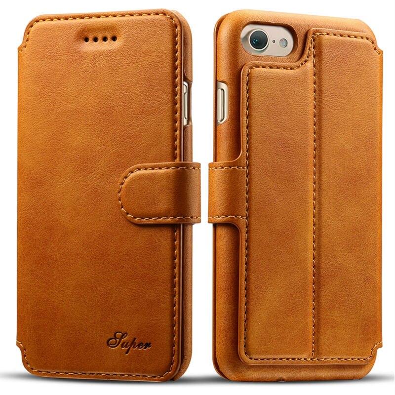 Цена за Refunney Тонкий Гладкий прикосновение роскоши флип чехол кожаный бумажник для iPhone 7 Plus чехол Коке capinha коричневый серый красный желтый