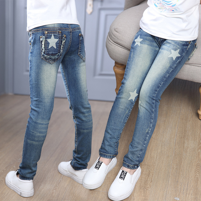 Children denim Pants girls ripped jeans baby kids start leggings autumn children's clothes girl cotton casual pencil trousers