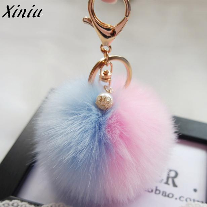 Hot Sale Cute Women Keychain Bag Accessories Rabbit Fur Ball Keychain Bag Plush Backpack Pendant Gift Female Fashion Ladies