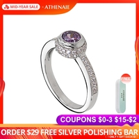 ATHENAIE Classic Rings Authentic 925 Sterling Silver Luminous Purple CZ Finger Ring for Women Wedding Engagement Jewelry