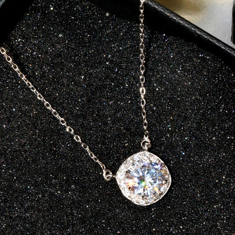 Wholesale Silver Necklaces 925 Sterling Silver Necklaces Crystal Rhinestone Pendants Necklaces Jewelry Collar Colar de Plata rhinestone bows necklaces and rings