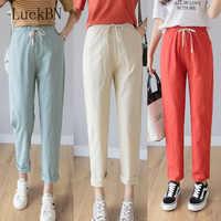 Femmes décontracté Harajuku longue cheville longueur pantalon 2019 été automne grande taille solide taille élastique coton lin pantalon noir pantalon