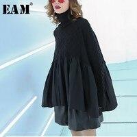 [EAM] 2019 New Spring Winter High Collar Long Sleeve Black Large Size Hem Pleated Stitch Knitting Sweater Women Fashion JL037
