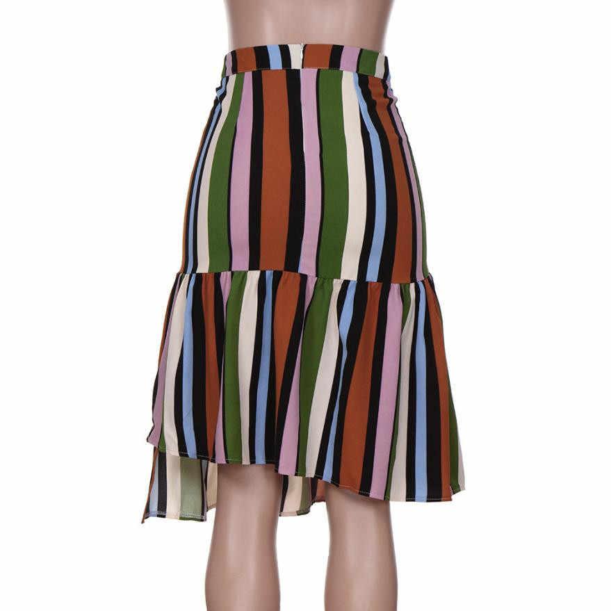 KANCOOLD 2018 אופנה לנשים חצאיות לעטוף חצאית adulto גבירותיי פסים הדפסה סדיר קפלים לפרוע ארוך בגדי 2AUG9
