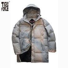 VIGOR TIGRE 2016 de Alta Calidad de Los Hombres de Moda de Largo Por la Chaqueta Pato invierno Abajo Cubre Con Capucha Solid Zipper Envío Gratis D-184L