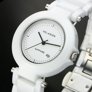 Ladies watch trend fashion watch calendar women's white ceramic watch fashion table