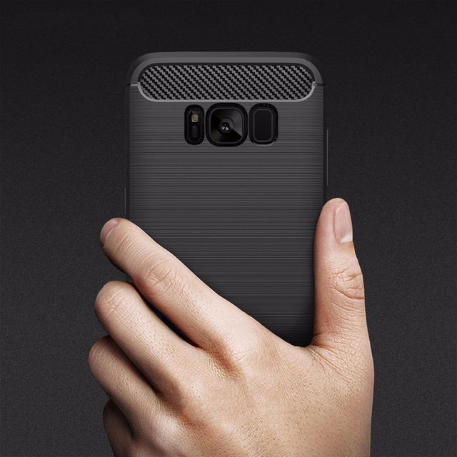Para Samsung Caso para Samsung galáxia S8 S8 mais Luxo híbrido Magro Armadura De Fibra De Carbono Textura Escovado caso de Volta Suave Silicone cobrir