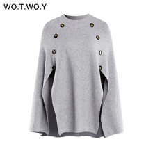 WOTWOY Autumn Winter Solid Casual Sweater Woman 2019 Button Long Batwing Sleeve  Cloak Soft O-Neck Knitted Grey Women Clothes