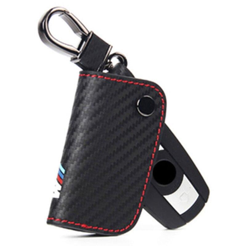 Carbon Fiber Key Case Cover For Bmw G30 E60 E46 E39 E90 E60 F30 E34 F10 F20 E30 X5 E53 X1 G30 E87 E91 X3 F25 X6 M M3 M5 M emblem car styling for bmw m real carbon fiber handbrake cover fitting kit e87 e90 e92 e60 e63 e64 m5 m3 m tec