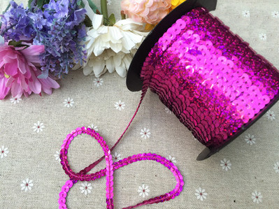 100yards/lot 6mm rose Color Sequins Sequin Band Webbing Ribbon Cord Rope for Clothes Tailor Sewer Sewing Craft Gift 019006002