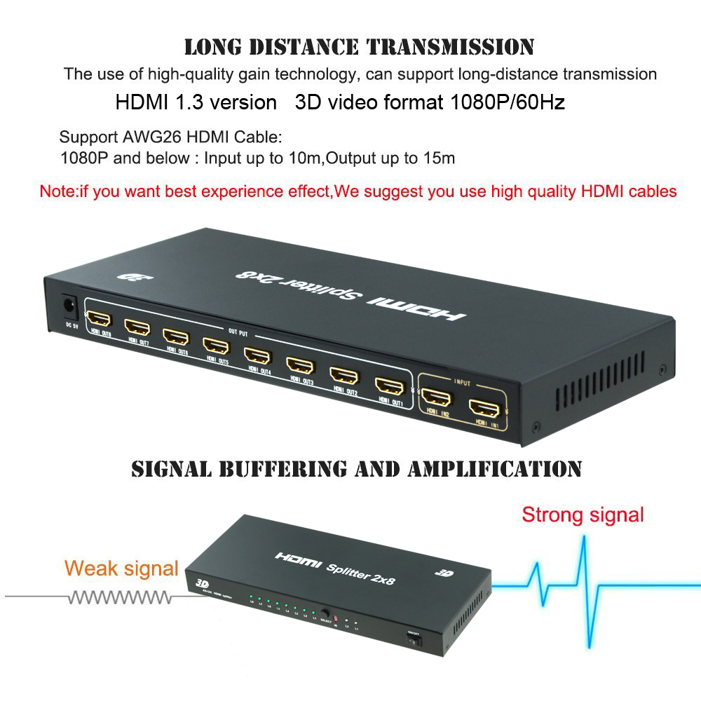 Aikexin 2x8 HDMI Switch Splitter 2 in 8 Out with IR Remote support Full HD 1080P 3D 2 input 8 output HDMI Splitter/HDMI Switcher