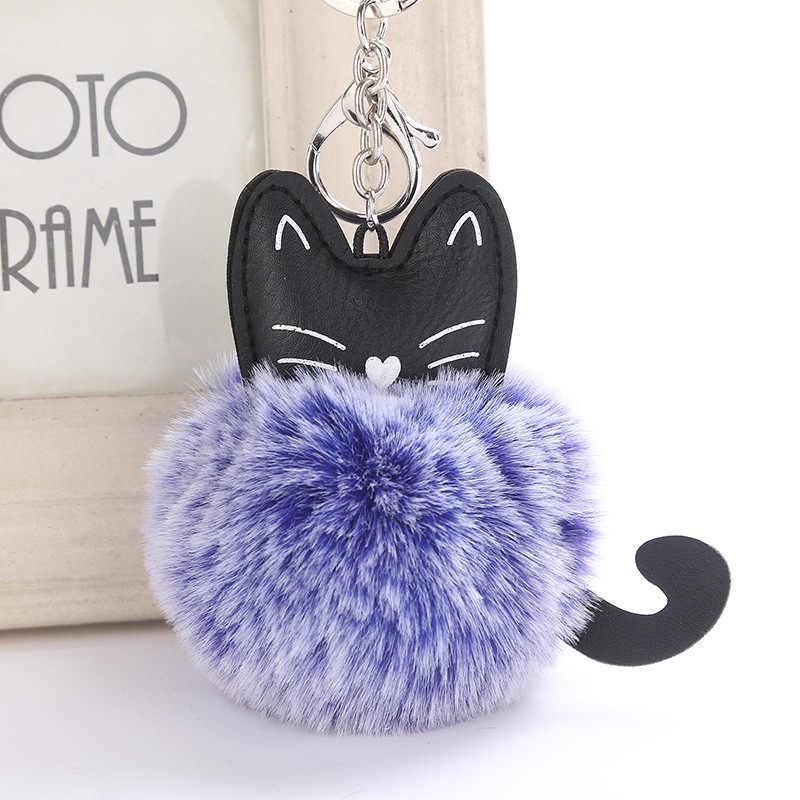素敵な漫画の猫ふわふわ毛皮のボールキーチェーンソフトポンポン動物テール毛皮ボール自動キーホルダー女性キーリングギフト llaveros 6C0025