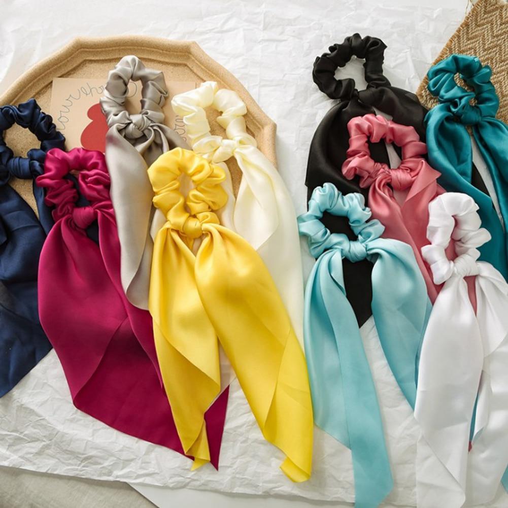 Women Summer Scrunchy Turban Bow Streamers Hair Scrunchies Ribbon Hair Ties Horsetail Ties Solid Head Wrap Hair Accessories