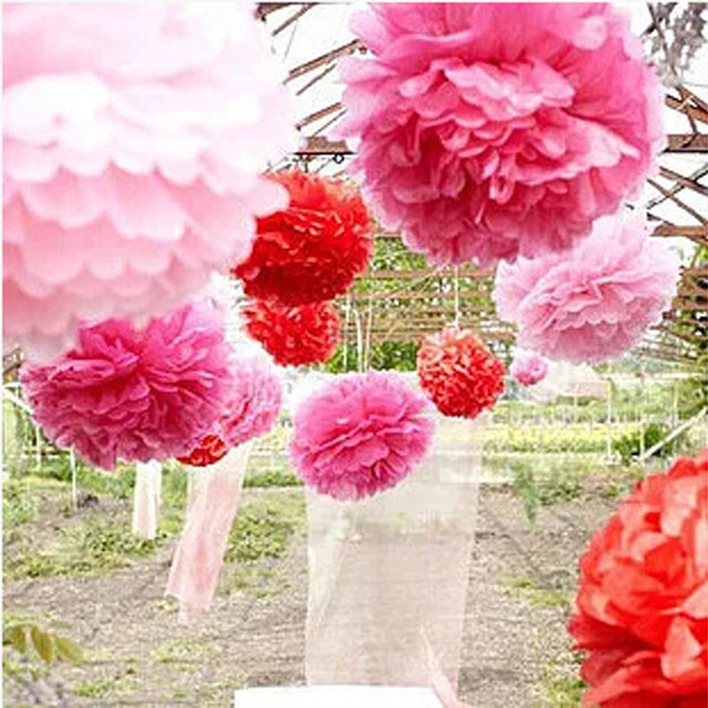Us 0 34 20 Off Mix Size Tissue Paper Flowers Handmade Pom Poms Wedding Paper Flowers Ball Wedding Home Baby Shower Birthday Party Decoration In