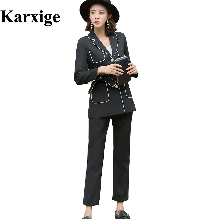 2017 New Slim Suit All Match Korean Fasten Belt double breasted pearl button pocket Temperament Elegant