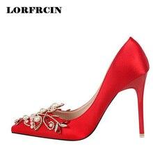 Lorfrcin 2017 свадебные туфли женские туфли-лодочки с острым носком Груша Кристалл Высокий каблук для женщин на высоком каблуке белые женские туфли; Большие размеры 34–43