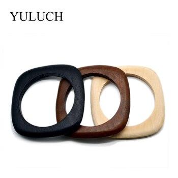 Grandes brazaletes redondos DIY de madera Natural, pulsera de madera, joyería, brazaletes negros/marrones, venta al por mayor, pulseras YULUCH para mujeres/hombres