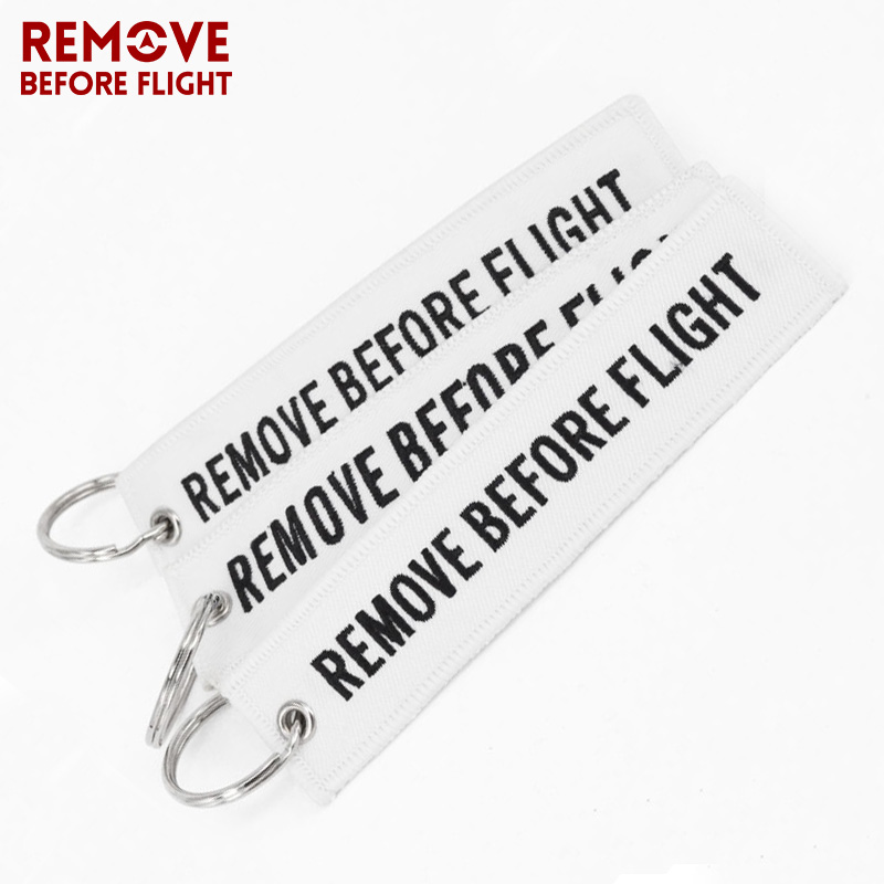 Fashion Remove Before Flight Key Chain White Embroidery Keyring for Aviation Gift Luggage Tag Key Fob Motorcycle Car Keychains