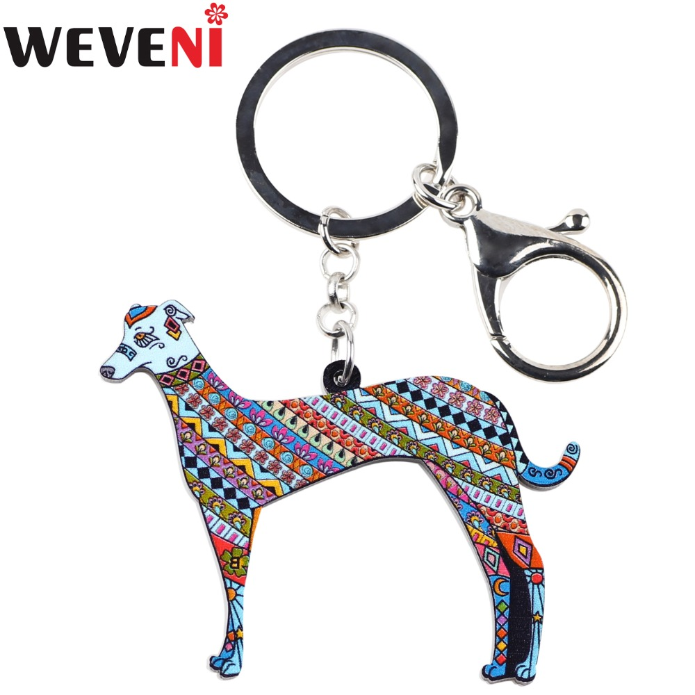 WEVENI Acrylic Printing Greyhound Dog Key Chain Key Ring Handbag Charm Man Keychain Accessories New Fashion Jewelry For Women