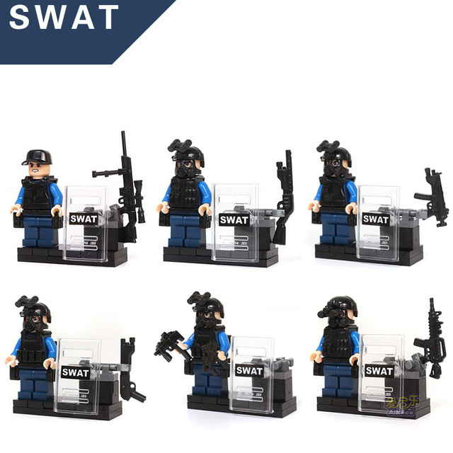 KAZI 84033 6pcs City police SWAT team CS Commando Army soldiers with Weapon Gun Blocks Compatible with Legoes Military Toy military city police swat team army soldiers with weapons ww2 building blocks toys for children gift