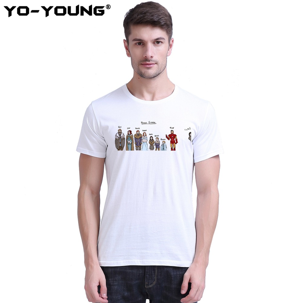 Yo-Young Funny T Shirts House Stark Jon Snow Game Of Thrones T-shirts Unisex Digital Printed 100% 180g Combed Cotton Customized