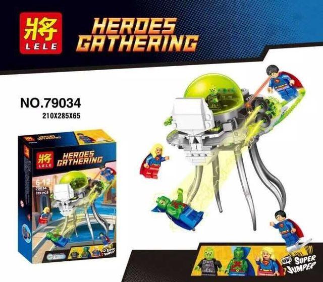 LELE 79034 Super Heroes Ataque Conjunto de bloques de construcción de juguetes Superman Brainiac minis Ladrillos Niños Juguetes Compatible con Legeod