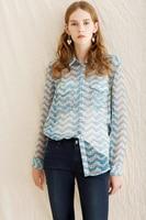 Newest Poster TK Kooples 100 Silk Women Jasmine Flower Print Navy Style Long Sleeve Shirt Lady