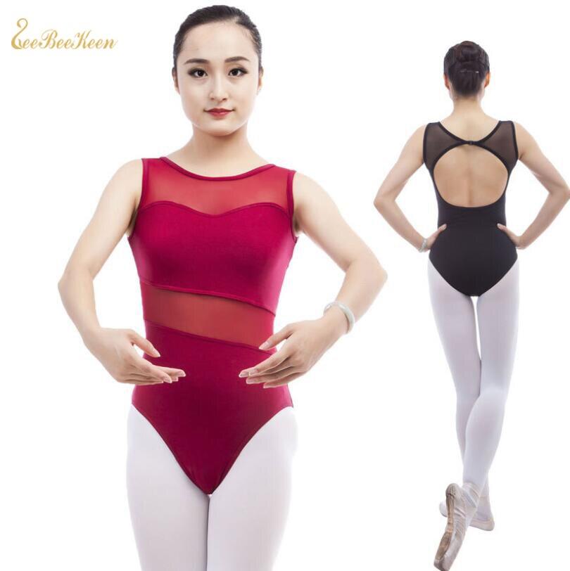 Black/Red Mesh Stitching Transparent Waist Ballet Dance Leotard Adult Bodysuit Gymnastics Leotard Ballet Leotards For Women