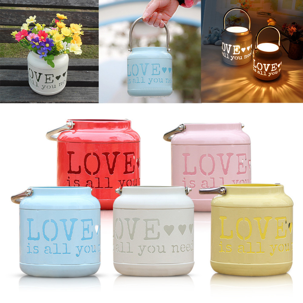 Pastoral Iron Art Hollow LOVE Floor Storm Lamp Candle Holders Artificial Flower Pot Storage Bucket Wedding Decoration 5 Colors