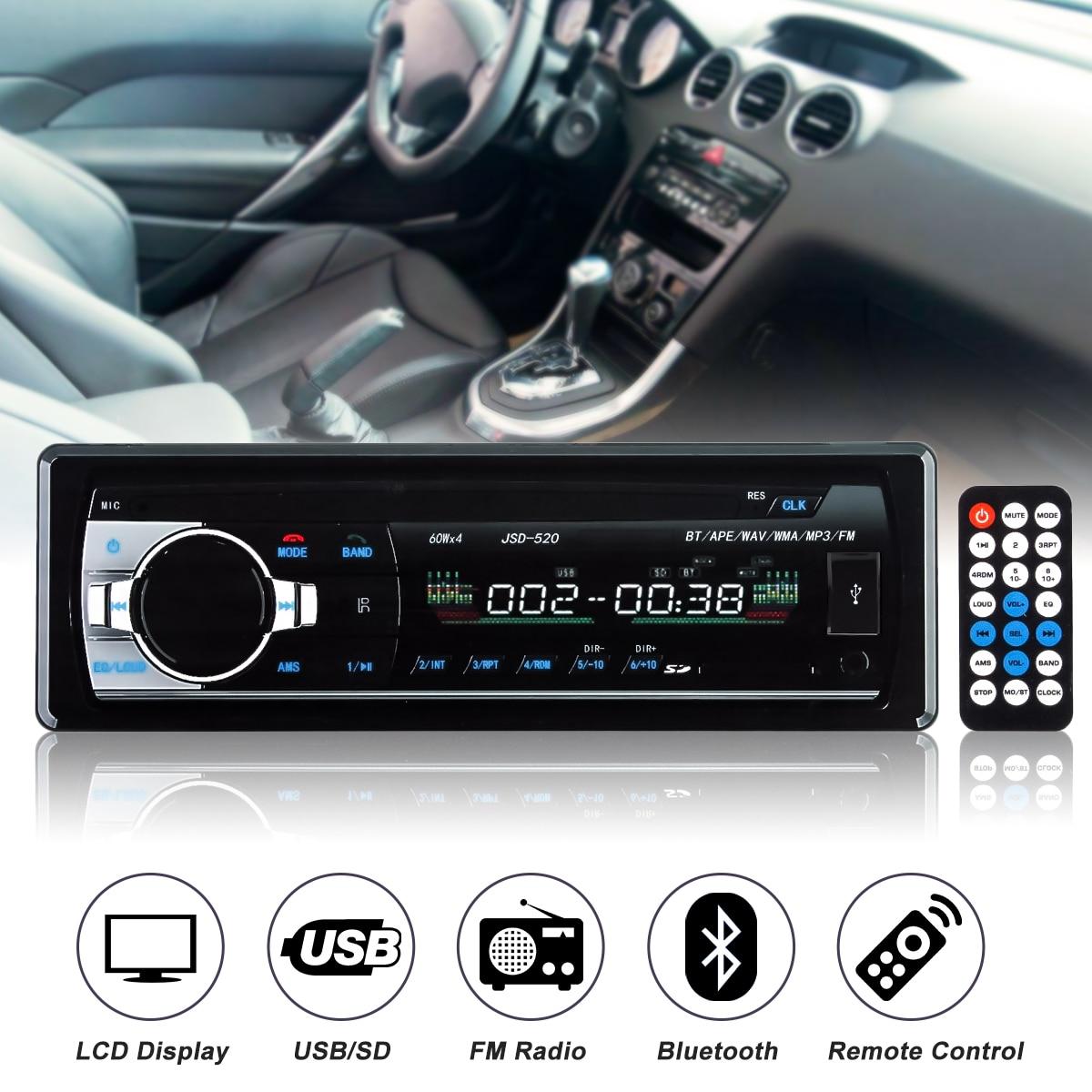 цена на Auto Car 1 DIN Bluetooth In Dash Stereo Headunit Radio Audio MP3 Player USB SD WMA In-dash AUX FM 12V
