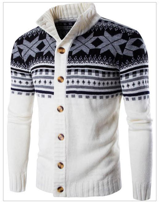 New Men Winter Cardigan Warm Coats Fashion Jacket Men Christmas Snowflake Pattern Multicolor Coat