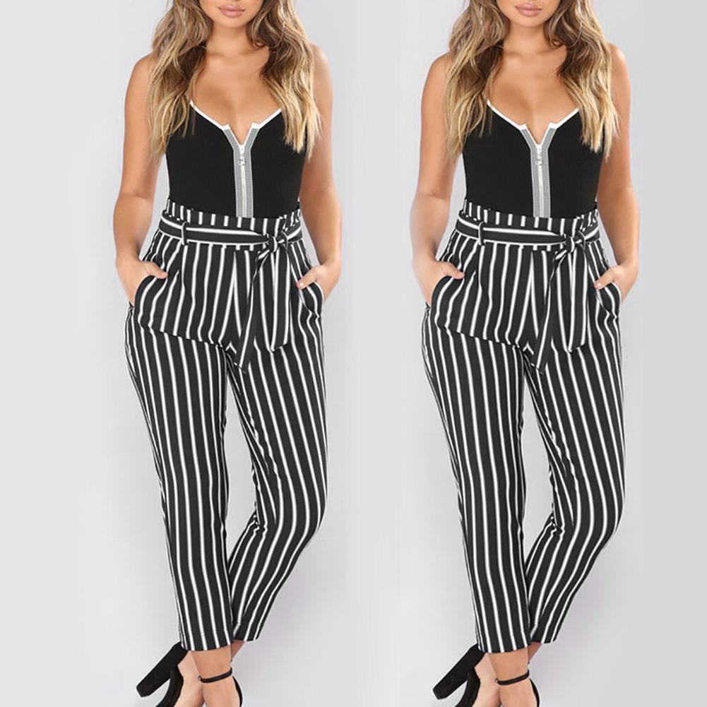 Women Cropped Pants Mid Rise Waist Belt Striped Summer Fashion Harem Trousers