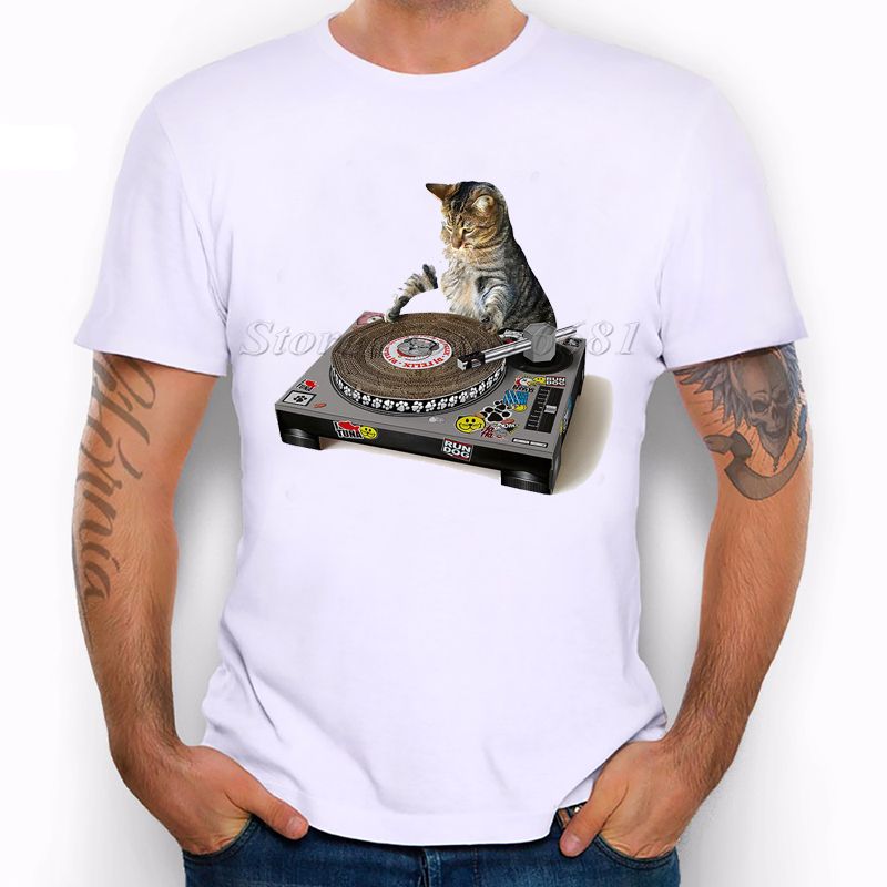 2016 new arrivals funny dj cat printed t shirt for man short sleeve fashion tees