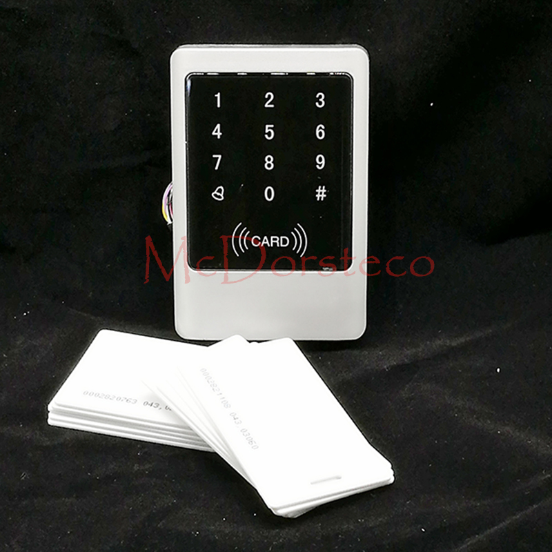 Metal IP65 Waterproof Access Control 125KHz RFID Card Reader Touch Keypad With 10 Card For Door Access Control System rfid ip65 waterproof access control touch metal keypad standalone 125khz card reader for door access control system 8000 users