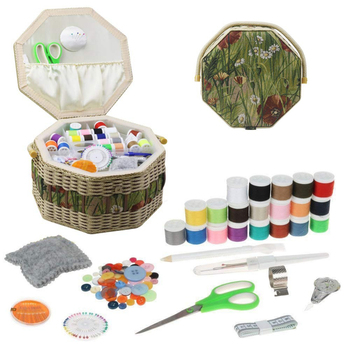 Büyük dikiş sepet seti saklama kutusu organizatör dikiş aksesuarları DIY ahşap ve kumaş el sanatları kutusu noel hediyeler için anne