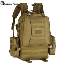 PROTECTOR PLUS ยุทธวิธีกระเป๋าเป้สะพายหลังรวมทหารกลางแจ้ง Camping Rucksack กระเป๋าเดินทางขนาดใหญ่ความจุกระเป๋าเป้สะพายหลัง 50L