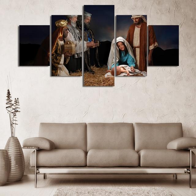 Hervorragend 5 Panels Geburt Von Jesus HD Gedruckt Gemälde Jungfrau Mary Malerei  Wohnzimmer Kundengebundene Leinwand Wandfarbe
