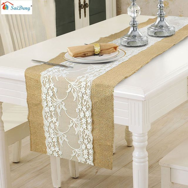 Saideng 275 x 30cm natural hessian burlap lace table runner flag saideng 275 x 30cm natural hessian burlap lace table runner flag christmas wedding kitchen table decor workwithnaturefo