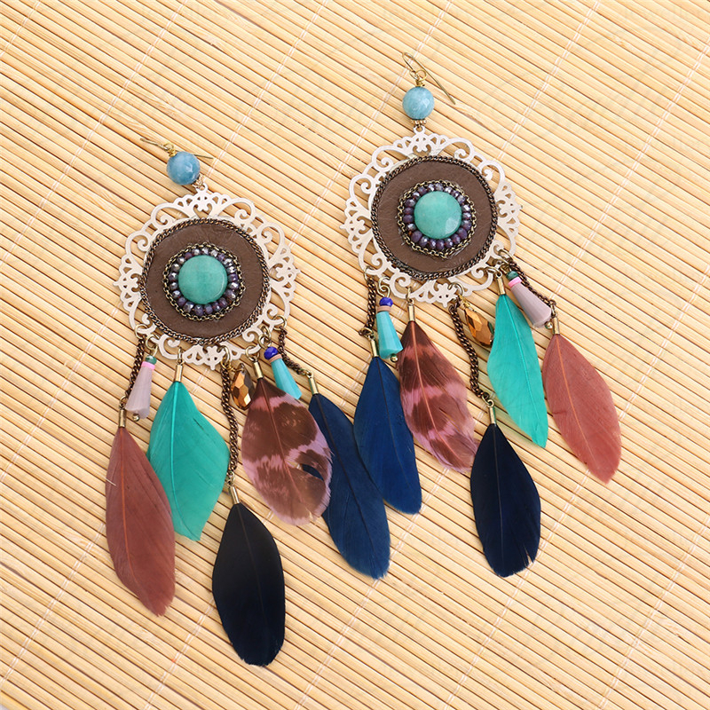 HTB1LUoTgRUSMeJjy1zjq6A0dXXaa - [Clearance] Women Vintage Bohemian Feather Earrings Filigree Colorful Feathers