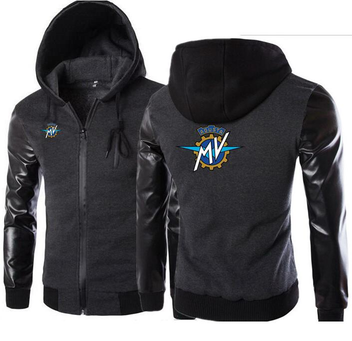 Autumn Winter Thick Warm Fleece Coat for Mens SportWear Tracksuit Male MV Agusta Print Hoodies Leather sleeve Bomber Jacket
