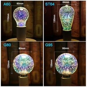 Image 5 - 3D Đầy Màu Sắc Sao LED Bóng Đèn Edison E27 220 V Đèn Trang Trí Mới Lạ Ánh Sáng A60 ST64 G80 G95 G125 Đám Cưới Kỳ Nghỉ đảng Ống