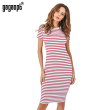 Gagaopt 2018 Striped Summer Beach Dress Women Shortsleeve Red Sexy Bodycon Office Midi Party Dresses Causal Vestidos Robes