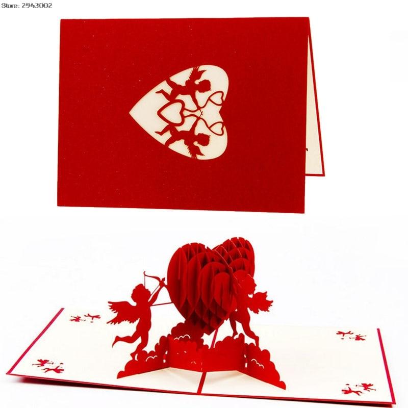 3d paper laser cut cupid love heart greeting card pop up