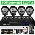 DEFEWAY 1080N de 8 Canales DVR 1200TVL 720 P HD Cámara de Seguridad Exterior sistema de 1 TB de Disco Duro HDMI 8CH del CCTV DVR Kit Cámara AHD conjunto